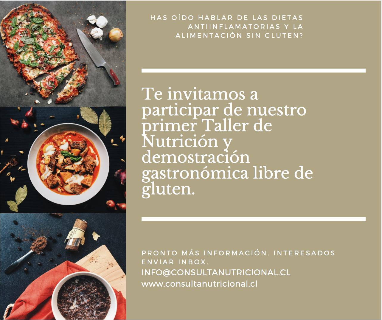 Taller de Nutrición y demostración gastronómica libre de gluten